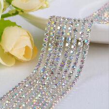1M Crystal Rhinestone Trim Chain 2/2.5/3mm Silver Cup Close Diamante Chain Trims