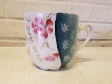 "Antique German Porcelain ""Forget Me Not"" Mustache Mug with Pink Floral Dec"
