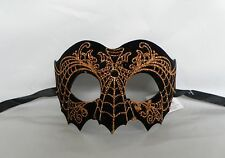 Black & Orange Glitter Spider Web Halloween Mask * NEW * Express Post Option