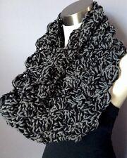 New Handmade Crochet Chunky Cowl Infinity Scarf Circle Loop Black Gray Grey Soft