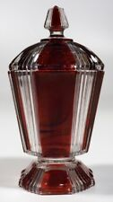 EAPG - US Glass No. 15003 Pleating - Covered Sugar - ruby stain