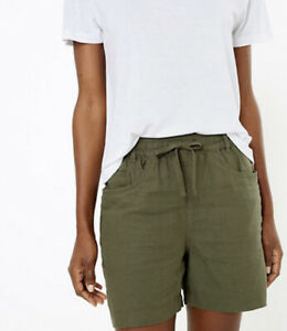 M&S Collection Linen Rich Khaki Shorts UK Size 24 Easy Iron BNWT *FREE P&P*