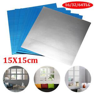 64x Wandspiegel Spiegelfolie Selbstklebend Aufkleber Folie Wandsticker 15cmx15cm