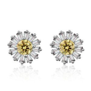 UK Luxury CZ Daisy Sterling Silver Earrings Boxed