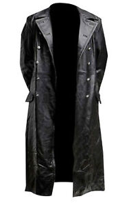 NEW GERMAN CLASSIC WW2 MEN'S MILITARY OFFICER UNIFORM BLACK LEATHER TRENCH COAT