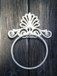 Victorian Style Cast Iron Towel Ring  Holder White Distressed Shabby Chic W