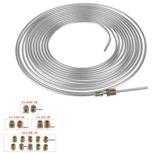 Iron Zinc Nickel Brake Line Tubing Kit 3/16 OD 25ft Coil Roll All Size Fittings