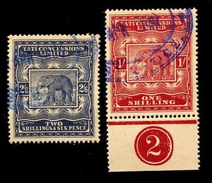 BECHUANALAND TATI CONCESSIONS REVENUES 1/ & 2/6 FINE USED. FORGERIES. B243