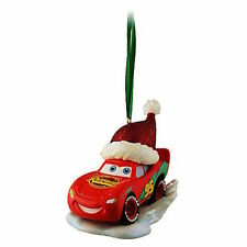disney parks christmas lightning mcqueen with santa hat ornament new with tag