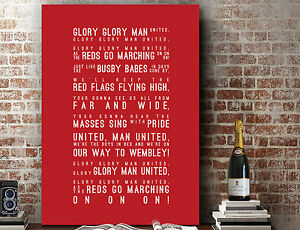 Manchester United Glory Glory Man Utd | Song Lyrics GIFT | Print or Canvas