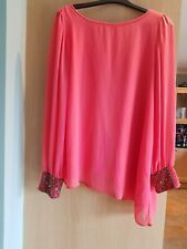 WALLIS Coral,Lined Chiffon Swing Top.Size M.With Beaded Cuffs.Size 16.Dip Hem