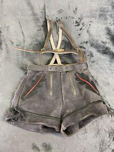 "Vintage 1960's Gray Leather Suede German Lederhosen:  Childs Size 22-23"" waist"