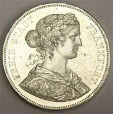 1861 German State Frankfurt 2 Thaler 3 1/2 Gulden silver coin AU58 cleaned