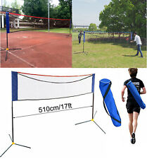 17'X5' Height Adjustable Badminton Tennis Volleyball Net Set Equipment Portable