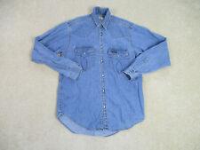 VINTAGE Agnelli Button Up Shirt Adult Medium Blue Pearl Snap Cowboy Western *