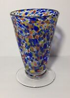 """1Source Inc Signature Hand Blown Art Glass Colorful Footed Trumpet Vase 6"""""""