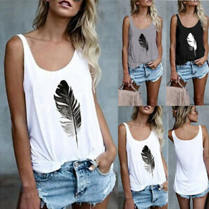 Womens Loose Summer Vest Tops Tank Camisole Ladies Plus Size Blouse T Shirt Tee