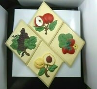 Vintage Ceramic Holland Mold Fruit Wall Hangings Plaque Set of 4 Mid Century
