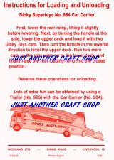 DINKY TOYS 984 AUTO vettori che effettuano foglio di istruzioni