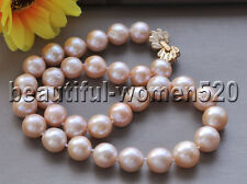 Z8687 14mm Pink ROUND Freshwater cultured PEARL NECKLACE CZ 17inch