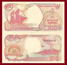 Indonesia P127h, 100 Rupiah, Sailboat Pinisi / famous Krakatoa Volcano UNC UV