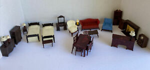 29 50s Renwal Doll House Fireplace Furniture Bedroom Living Dining Room Plastic