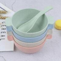 Salatschüssel + Löffel 4er Set Rührschüssel Servierschüssel Weizenstroh Schale