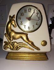VINTAGE ART DECO CERAMIC CLOCK GOLD DEER WORKS!