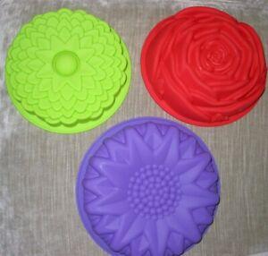 Silicone Cake Mould Flower Shape 3 PCS Large Non Stick Bread Pie Baking Trays UK