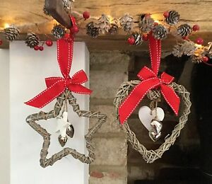 15cm Hanging Wicker Christmas Star Or Heart Red Ribbon Wall Vintage Chic Rustic