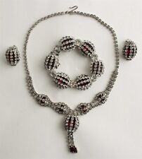 Rare 3pc Vintage Red White Rhinestone Crystal Bracelet Necklace Earrings Suite