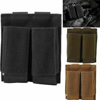 Tactical Molle Double Pistol Magazine Pouch Open-top with Hook Loop Panel Holder