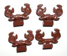 LEGO 4 Reddish Brown Reindeer Antlers Minifigure Deer Horns Animal w/ Clips