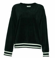DKNY Women's Sport Velour Embossed Logo Long Sleeve Sweatshirt Black