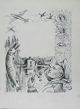 Dessin original ancien Aviation Pêche signé TM Tessier Madeleine