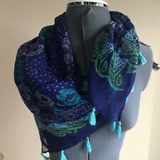 """Chatti's polyester blue paisley & floral approx 35"""" square career  scarf"""