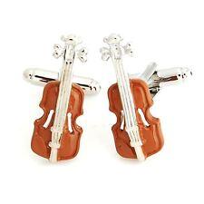 Music Brown Violin Novelty Cufflinks Wedding Gift Smart Musician Play Fashion UK