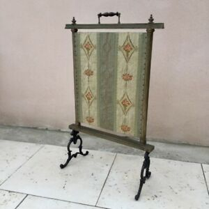 Fab Antique FRENCH 19th cent. Victorian FIRE WALL SCREEN Silk Floral PARE-FEU