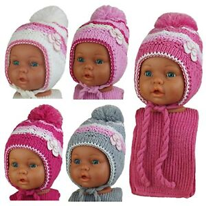 2 tlg.Set Mütze mit Schal Mädchen Wintermütze Kindermütze Größe 45-48 cm