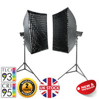 Twin Easy Softbox Stands Bright LED Dimmable Video Lighting Kit Lights 100W MKII
