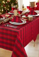 "A Large Rectangular Red/Green Tartan  Christmas Tablecloth 52"" x 90"""