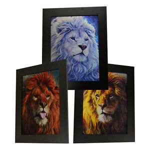 3 Dimension 3D Lenticular Picture Male Lion Elegant Wildlife Yellow White Gold