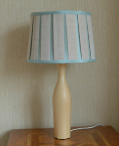 Wood Table Lamp Faux Silk Duck Egg Beige Stripe Lined Shade. Excellent Quality