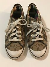 Coach Vintage Condition 7 B Classic Brown Lace Up Fashion Sneakers Women's Shoes
