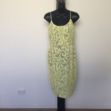 'ASOS' BNWT SIZE '12' YELLOW LACE PATTERN LINED DRESS WITH SHOE STRING STRAPS