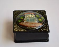 Beautiful Vintage Small Russian Square Black Lacquer Box. Made In USSR.  Signed.
