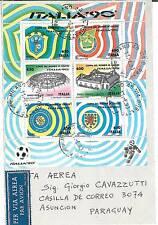 05435 - CALCIO - ITALIA 1990 FOGLETTO STADI SASS. 6 su BUSTA!