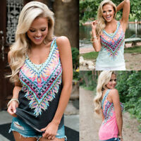 AU Womens Boho Tank Top Vest Sleeveless Loose Summer Beach Casual T-Shirt Blouse