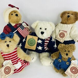 Lot Of 5 Boyds Bears With Tags  Plush Americana Mandy Zak Edmond Bailey Ethan