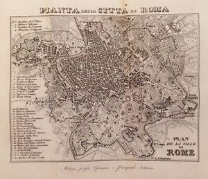 MAPPE ARTARIA EPIMACO PIANTA DELLA CITTA DI ROMA ROME LAZIO 1829